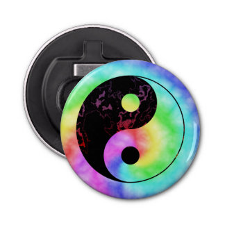 Rainbow Spiral Yin Yang Symbol Bottle Opener
