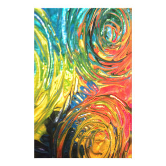 Rainbow Spirals Abstract Painting Customized Stationery
