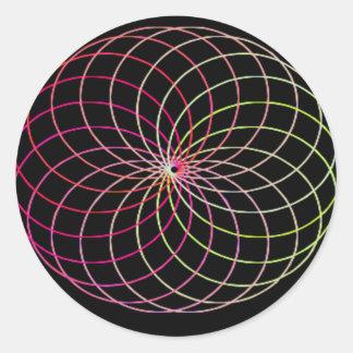 Rainbow Spirograph Round Sticker