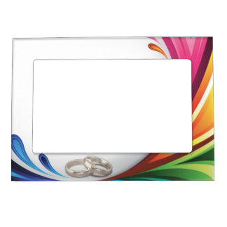 Rainbow Splash & Wedding Rings - Frame Photo Frame Magnet