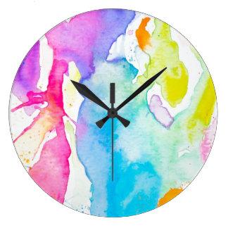 Rainbow Splatter Clock By Megaflora