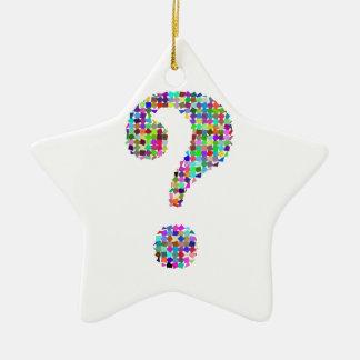 Rainbow Splatter Question Mark Ceramic Ornament