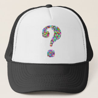 Rainbow Splatter Question Mark Trucker Hat