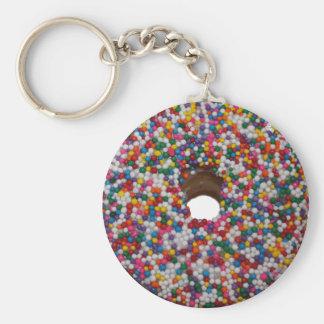 Rainbow Sprinkle Donut Key Chain