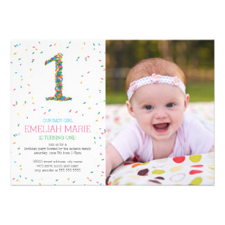Rainbow Sprinkles 1st Birthday Party Invite