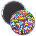 Rainbow sprinkles 6 cm round magnet