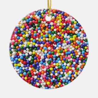 Rainbow sprinkles ceramic ornament