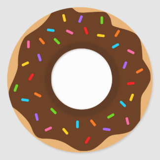 Rainbow Sprinkles Chocolate Donut Classic Round Sticker