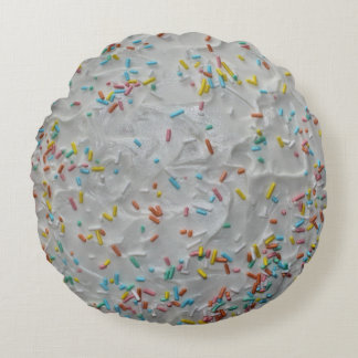 Rainbow Sprinkles on White Frosting Round Cushion