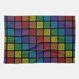 Rainbow Squared Black Tea Towel