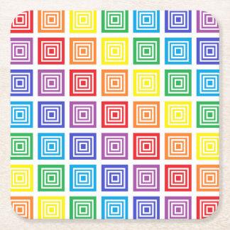 Rainbow Squared Square Paper Coaster