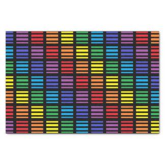 Rainbow Squares and Stripes Black Tissue Paper