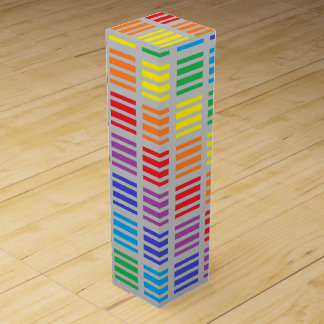 Rainbow Squares and Stripes Silver Wine Box