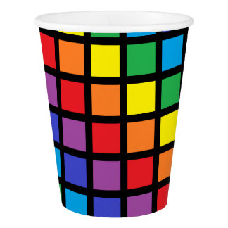 Rainbow Squares Black Paper Cup