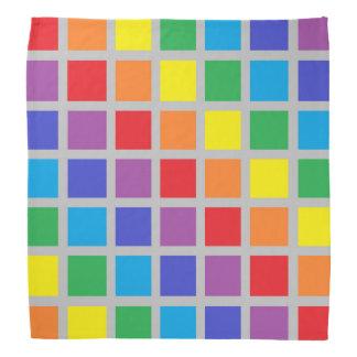 Rainbow Squares Silver Bandana