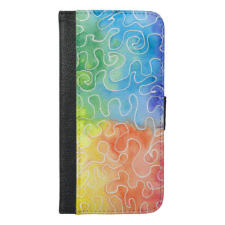 Rainbow Squiggle Watercolour iPhone 6/6s Plus Wallet Case