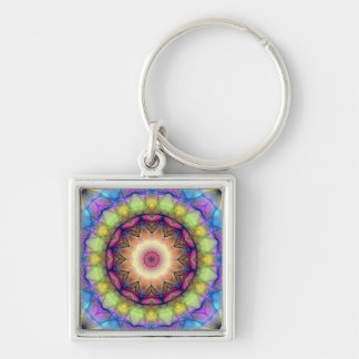 Rainbow stained Glass Silver-Colored Square Key Ring