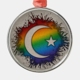 Rainbow Star and Crescent Metal Ornament