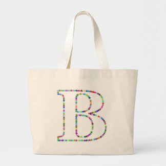 Rainbow Star Letter B Large Tote Bag