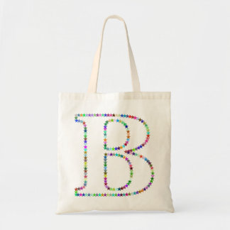Rainbow Star Letter B Tote Bag