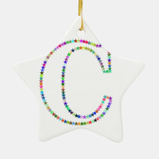 Rainbow Star Letter C Ceramic Ornament