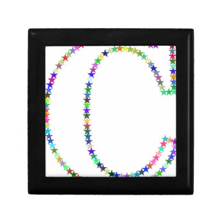 Rainbow Star Letter C Small Square Gift Box