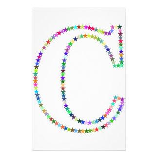 Rainbow Star Letter C Stationery
