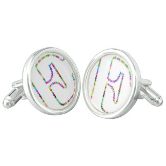 Rainbow Star Letter E Cufflinks