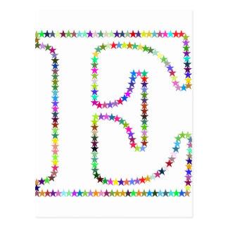 Rainbow Star Letter E Postcard