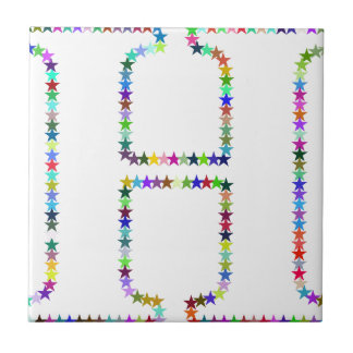 Rainbow Star Letter H Tile