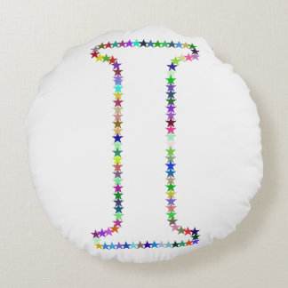 Rainbow Star Letter I Round Cushion