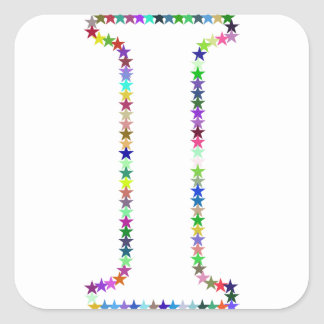 Rainbow Star Letter I Square Sticker