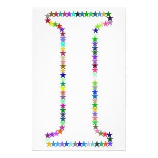 Rainbow Star Letter I Stationery