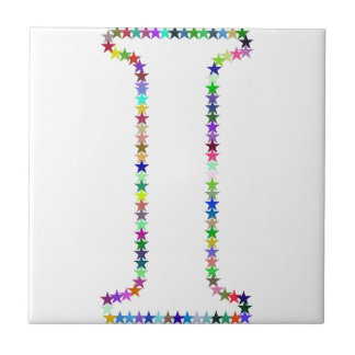Rainbow Star Letter I Tile