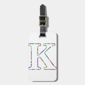 Rainbow Star Letter K Luggage Tag