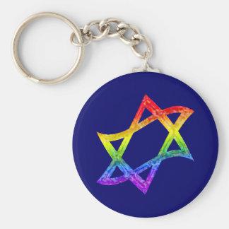 Rainbow Star of David Keychain
