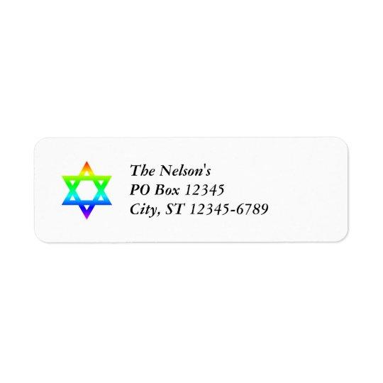 Rainbow Star of David Return Address Label