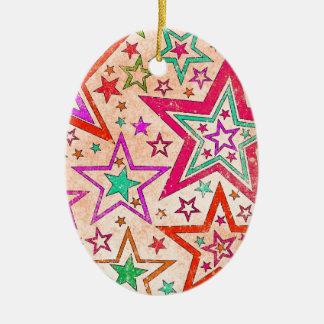 rainbow star pattern christmas tree ornaments
