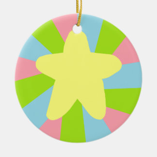 Rainbow Star Round Ceramic Decoration