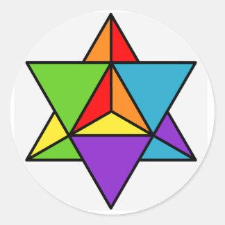 Rainbow Star Tetrahedron Classic Round Sticker