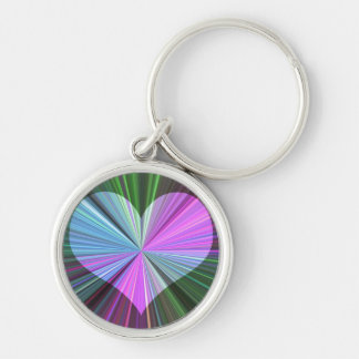 Rainbow Starburst Heart Silver-Colored Round Key Ring