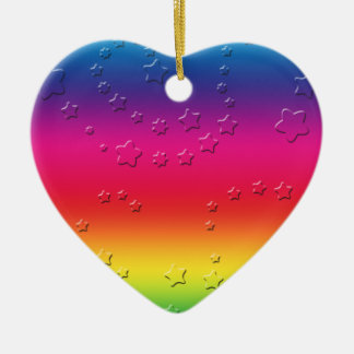 Rainbow Stars Ceramic Heart Decoration
