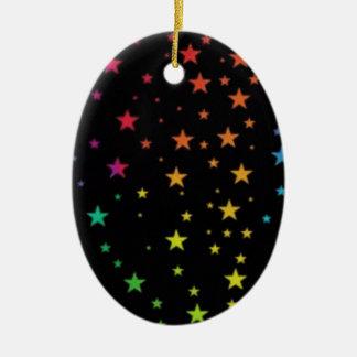 Rainbow stars ceramic oval decoration