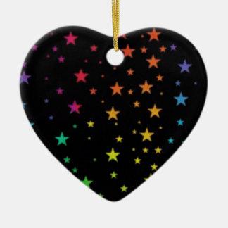 Rainbow stars ceramic heart decoration