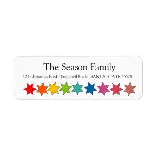 Rainbow stars holiday label