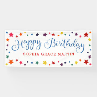 Rainbow Stars on any color Happy Birthday Kids Banner