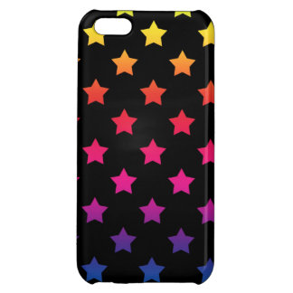 Rainbow Stars over Black Background Pattern iPhone 5C Cases