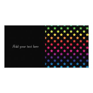 Rainbow Stars over Black Background Pattern Photo Cards