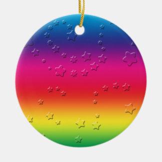 Rainbow Stars Round Ceramic Decoration