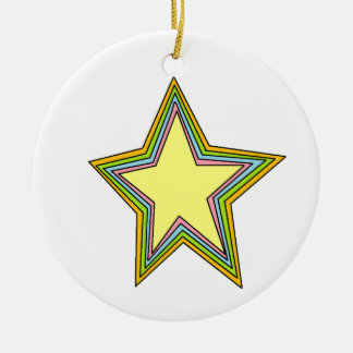 Rainbow Stars Round Ceramic Decoration